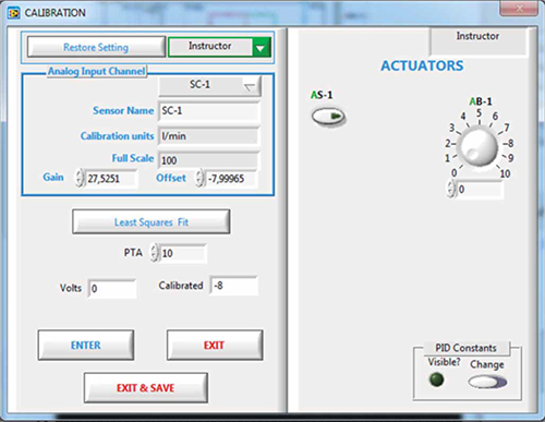 Software for Sensors Calibration: Example of screen